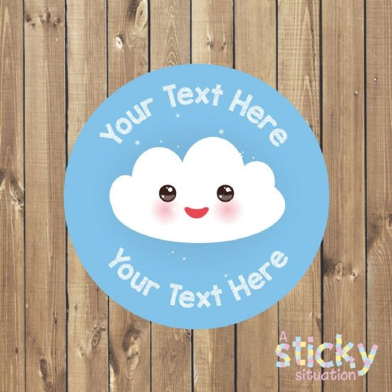 Personalised Customisable Stickers - Kawaii Cloud Design